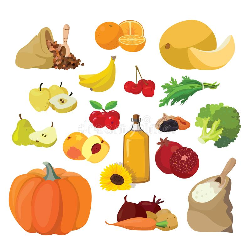 Vegetables, fruits, berries, cereals, oil. Vegetarian foods: Vegetables, fruits, berries, cereals, oil. For your convenience, each significant element is in a vector illustration