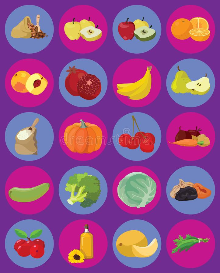 Vegetables, fruits, berries, cereals, oil. Vegetarian foods: Vegetables, fruits, berries, cereals, oil. For your convenience, each significant element is in a stock illustration