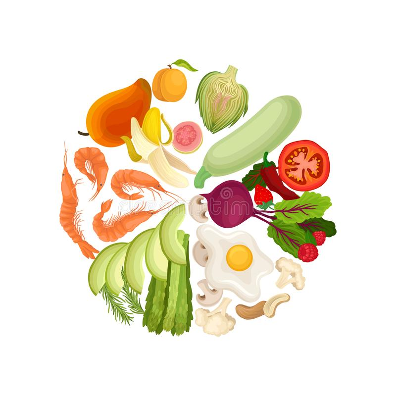 Vegetables, fruits, berries, shrimps, eggs, nuts are lined in a circle by color. Vector illustration on white background stock illustration
