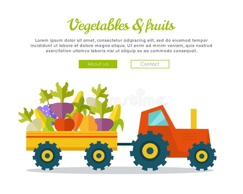 Vegetables Fruits Concept Vector Web Banner. vector illustration