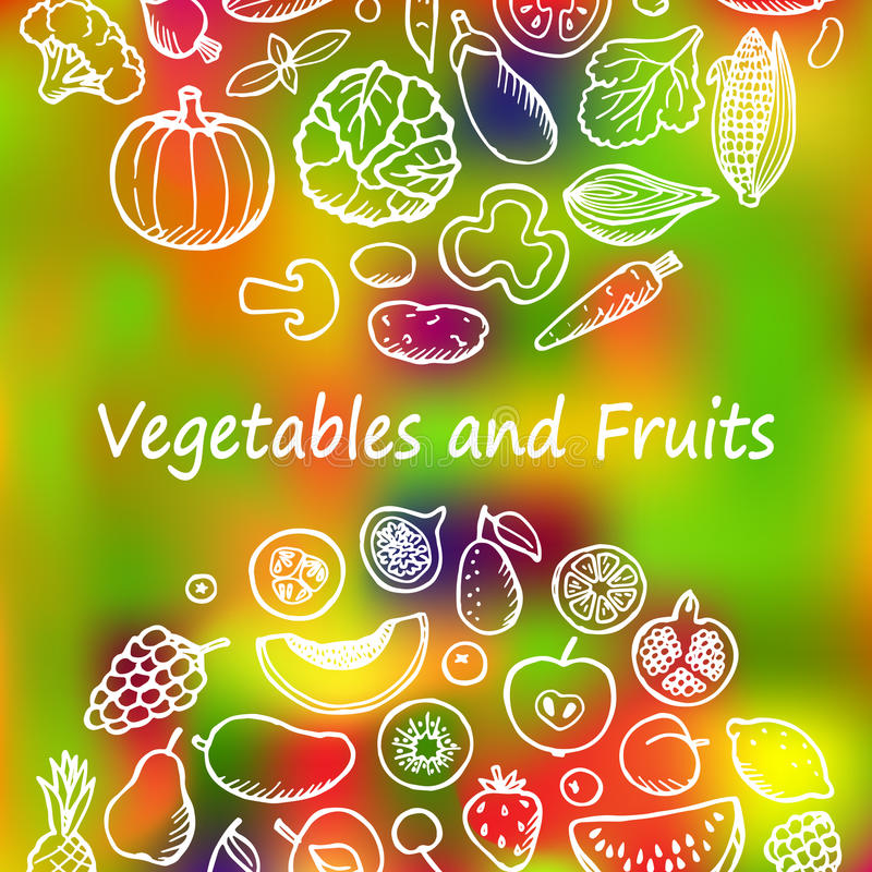 Vegetables and Fruits Doodle Set. Doodle set with vegetables and fruits. Vegetarian hand drawn background vector illustration