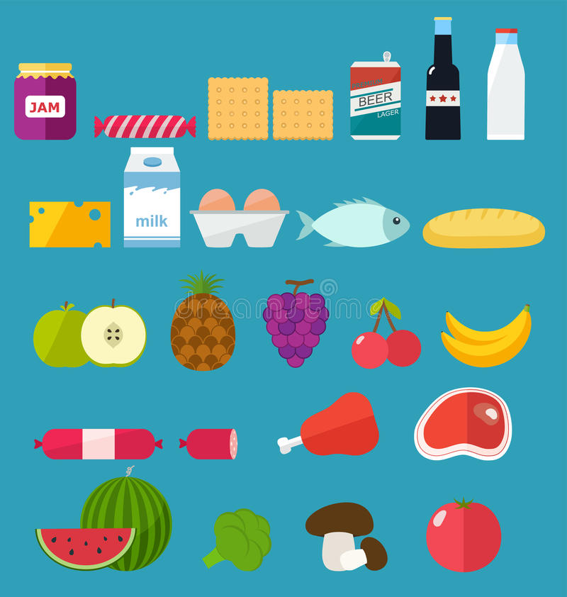 Vegetables and Fruits Icons, Set of Food vector illustration