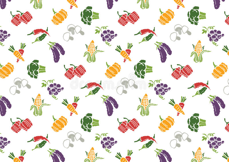 Vegetables and Fruits icons set and signs pattern stock illustration
