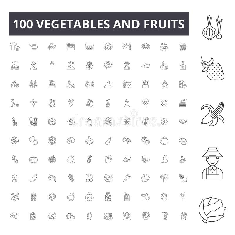 Vegetables and fruits line icons, signs, vector set, outline illustration concept stock illustration