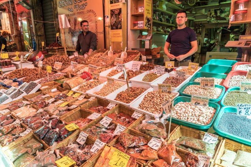 The market of Ballarò in Sicily, Italy royalty free stock photos