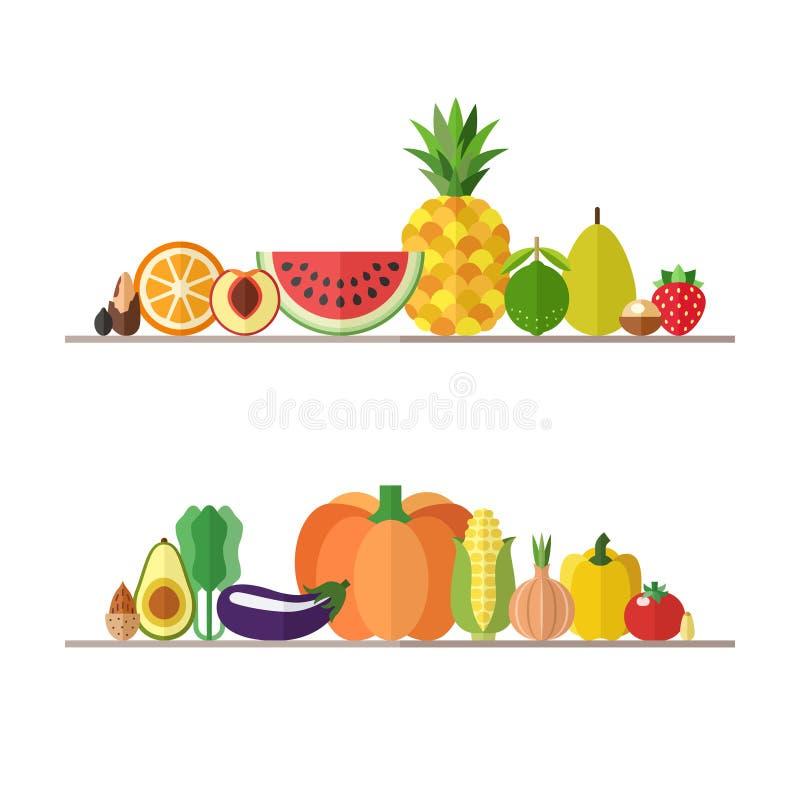 Vegetables, fruits and nuts illustrations vector set. Modern flat design. Part two. stock illustration
