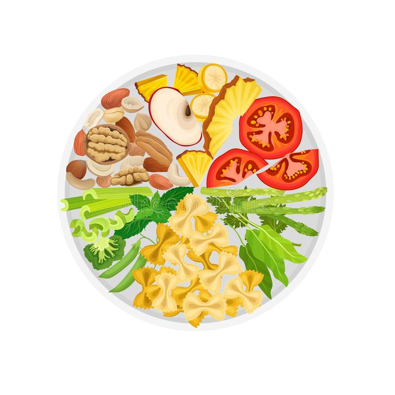 Vegetables, fruits, nuts and macaroni are laid out on a round plate by color. Vector illustration on white background. vector illustration
