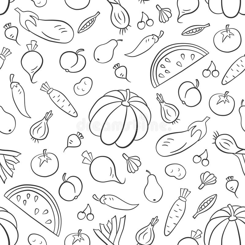 Vegetables and fruits. Seamless pattern in doodle and cartoon style. Outline vector illustration