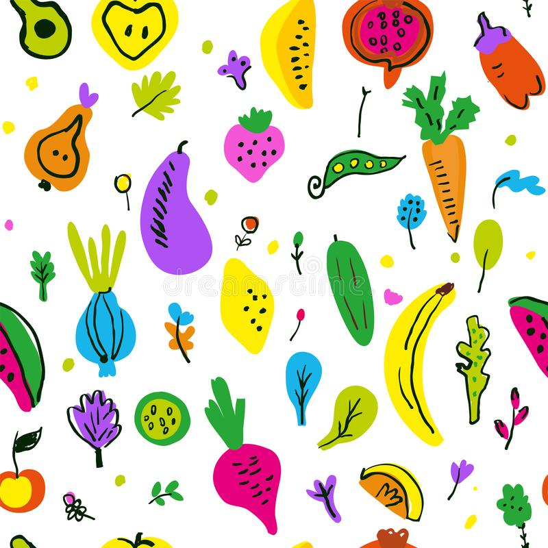 Vegetables and fruits seamless pattern, funny sketchy design. Vector  illustration royalty free stock image