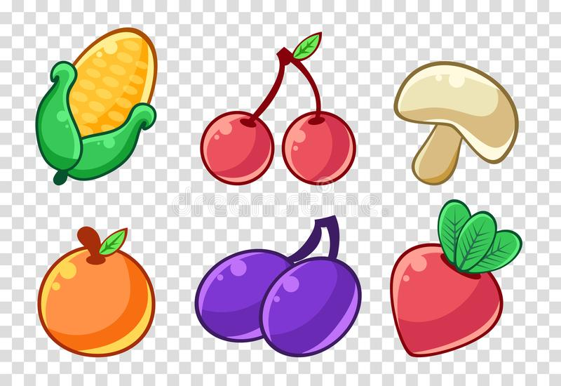 Vegetables and fruits set, corncob, cherry, mushroom, peach, plum, beet stickers, labels, badges vector Illustrations stock illustration