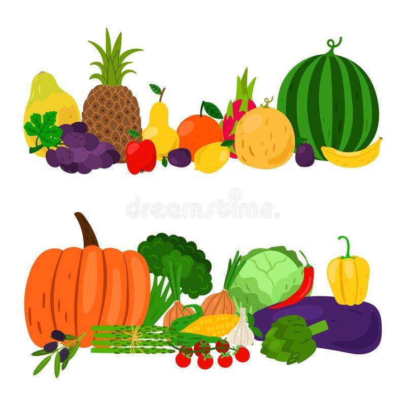 Vegetables fruits set. Vegetables and fruits vector groups. Harvest illustration. Greens isolated on white background vector illustration