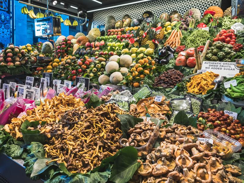 Vegetables and Fruits stall Organic Farm product sell in Market place Europe Gourmet travel royalty free stock images