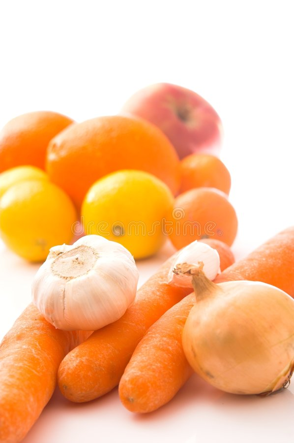 Vegetables And Fruits - White Background Stock Images