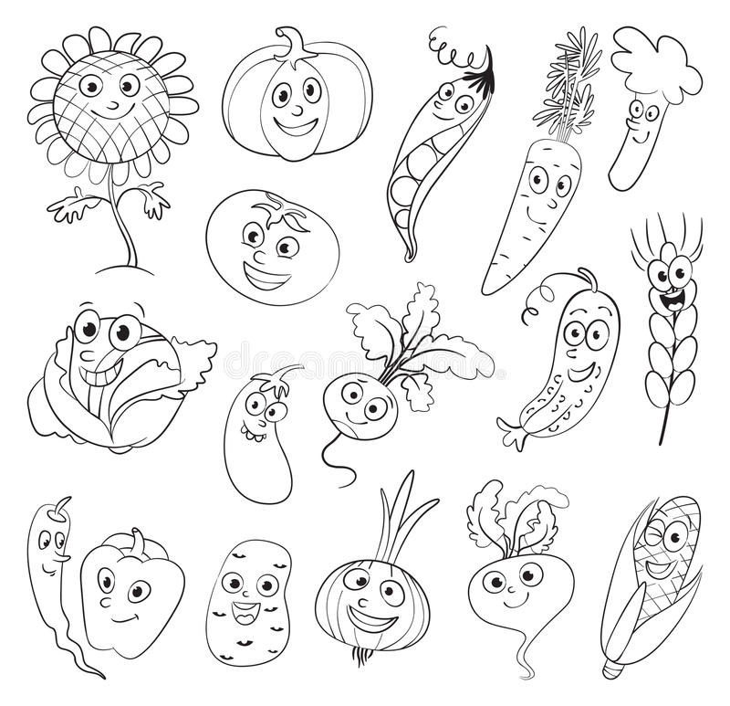 Vegetables. Funny cartoon character. I love vegetables. Funny cartoon character. Vector illustration. Coloring book. Set royalty free illustration