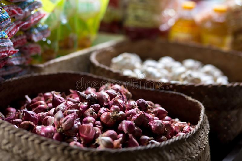 Vegetables and garlic on traditional Marketplace in Bali. Vegetables and garlic on traditional marketplace, Bali, Indonesia stock photography