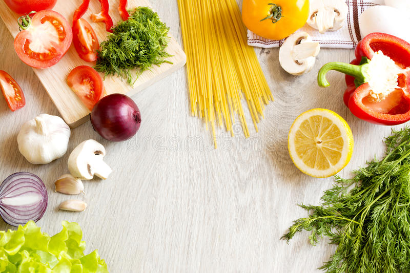 Vegetables green fruit noodles on the table stock images