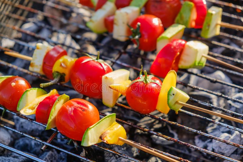 Vegetables grill marinade bbq healthy,  summer fire stock images