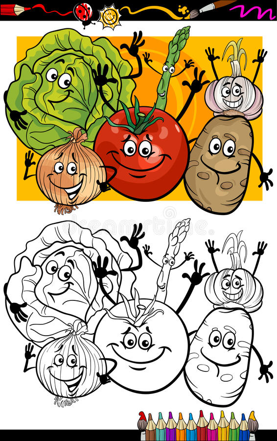 Vegetables Group Cartoon For Coloring Book Stock Photography