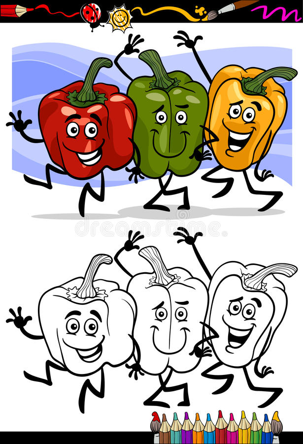 Download Vegetables Group Cartoon For Coloring Book Stock Vector - Illustration: 31392824