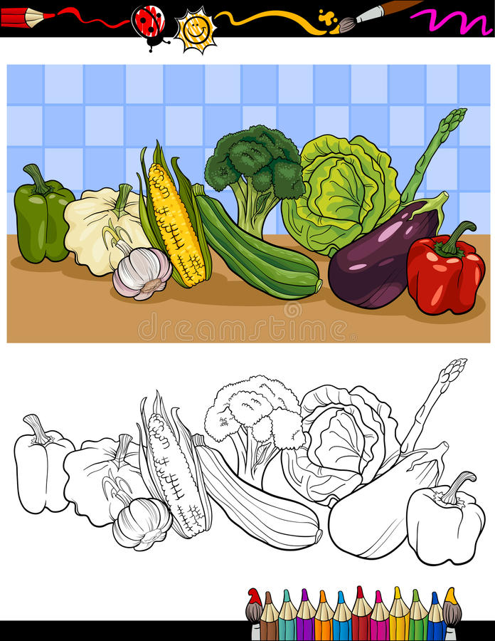 Vegetables Group Illustration For Coloring Royalty Free Stock Photo