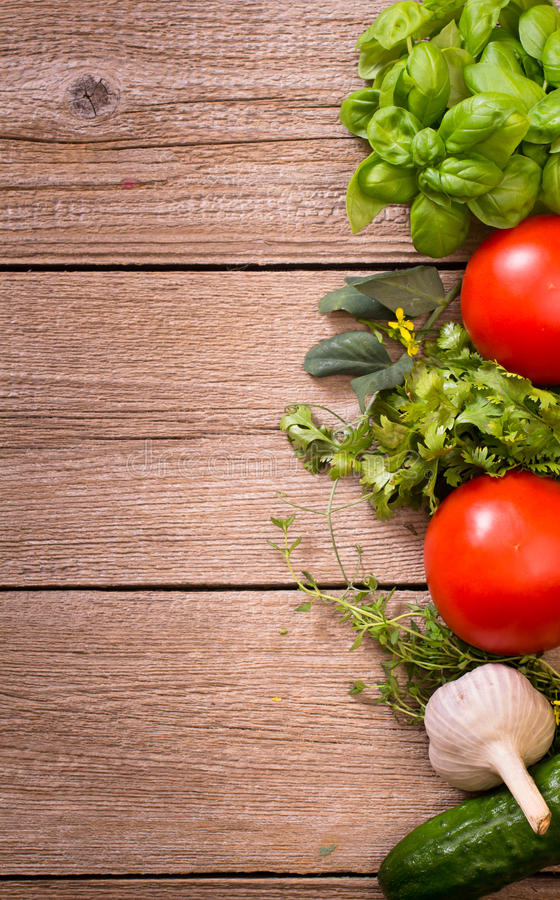 Vegetables and herbs background royalty free stock images
