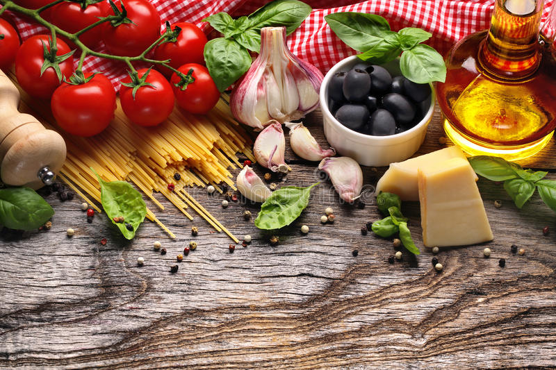 Vegetables,herbs and spices for Italian food royalty free stock photo