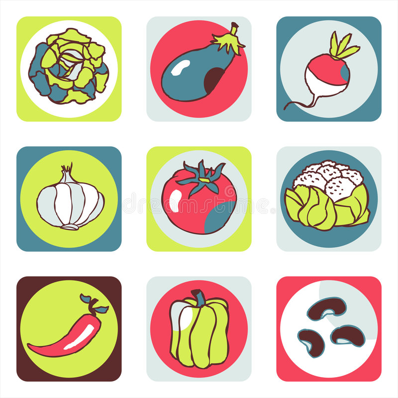 Vegetables icons 1 royalty free stock photos