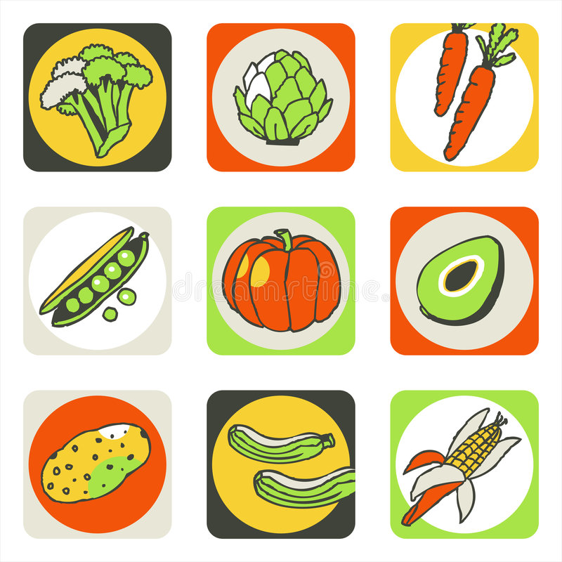Vegetables icons 2 stock photos