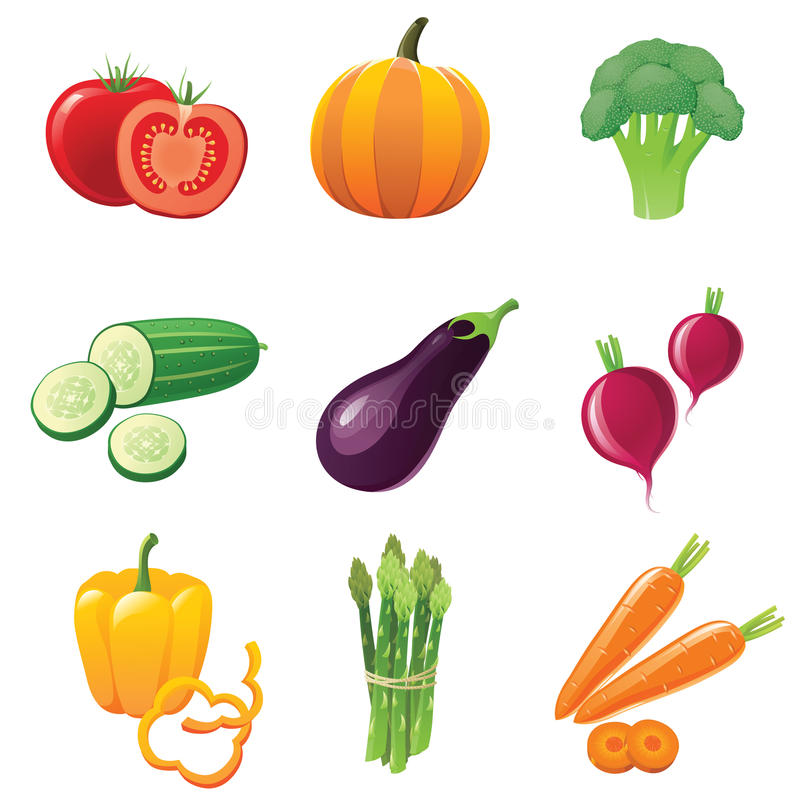 Vegetables icons royalty free illustration