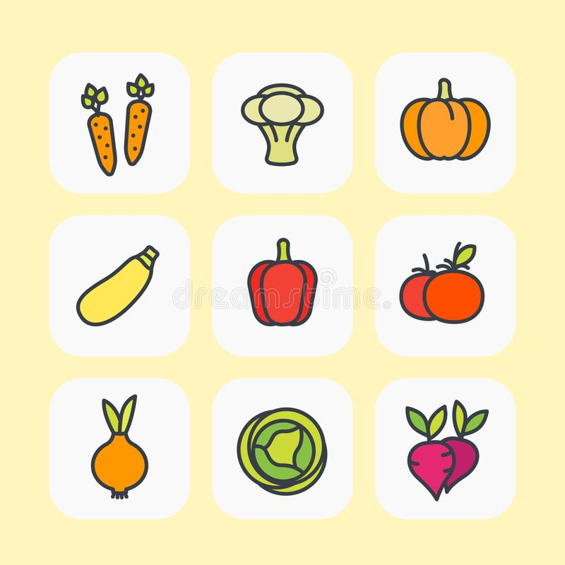 Vegetables icons set, flat style with outline stock illustration