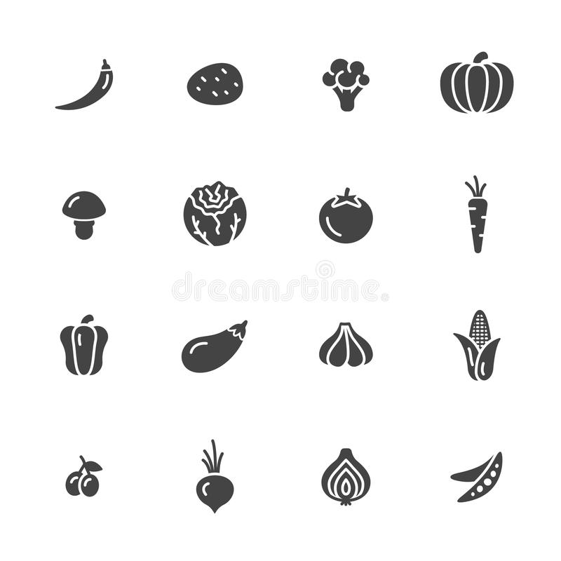 Vegetables Icons Set. Vegetables icons. Vector modern solid icons set vector illustration