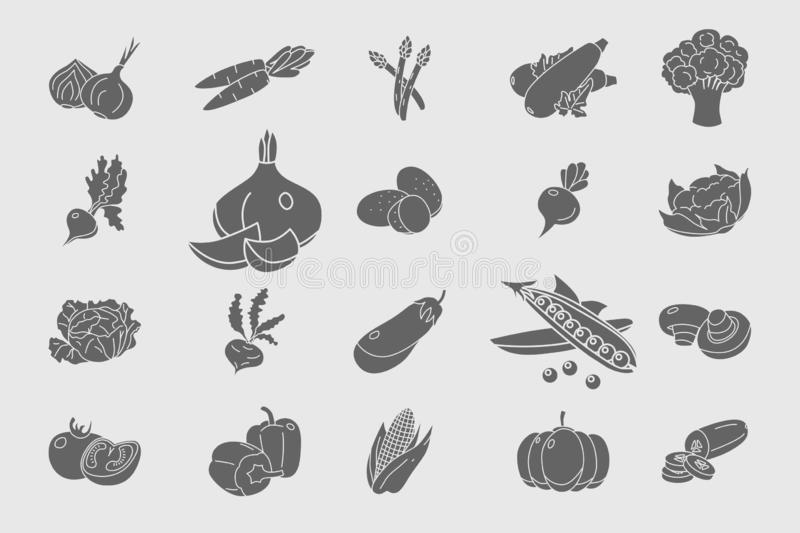 Vegetables Icons set 05. Vegetables Icons set - Vector solid silhouettes of vegetarian food and healthy nutrition for the site or interface vector illustration