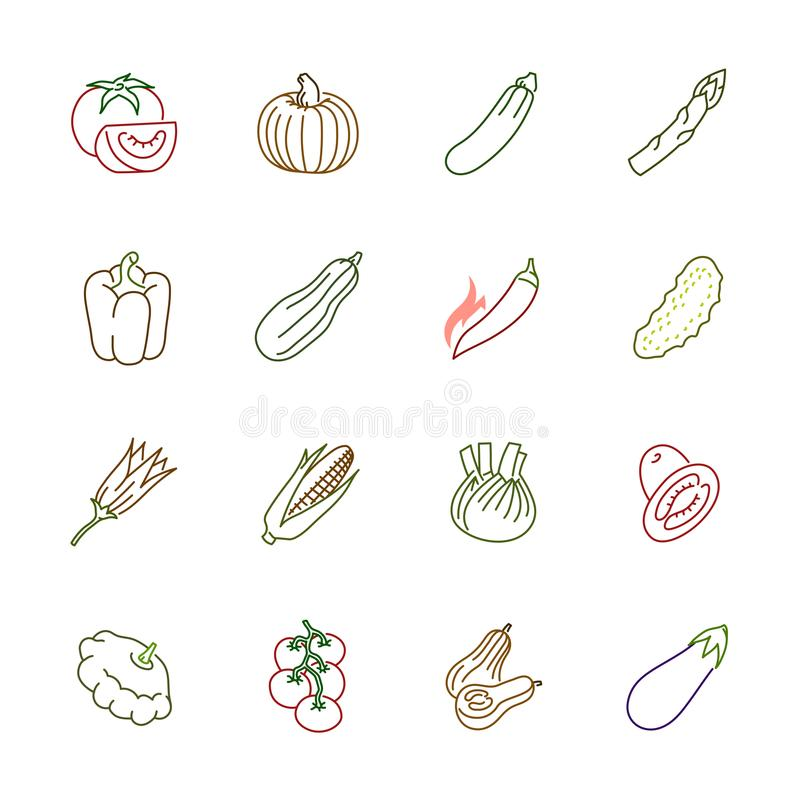 Vegetables icons - Tomato, cucumber and chili stock photography