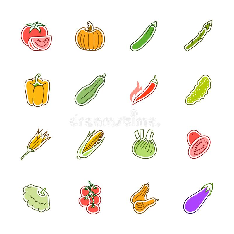 Vegetables icons - Tomato, cucumber and chili stock photos
