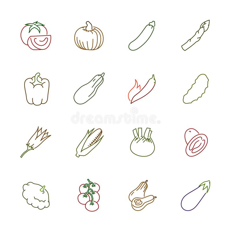 Vegetables icons - Tomato, cucumber and chili stock images