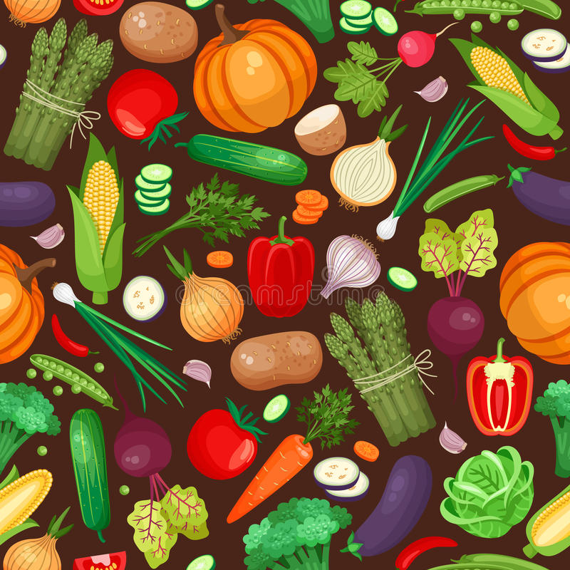 Vegetables ingredients seamless pattern. Pumpkin, beet, potatoes and peppers. Vector illustration