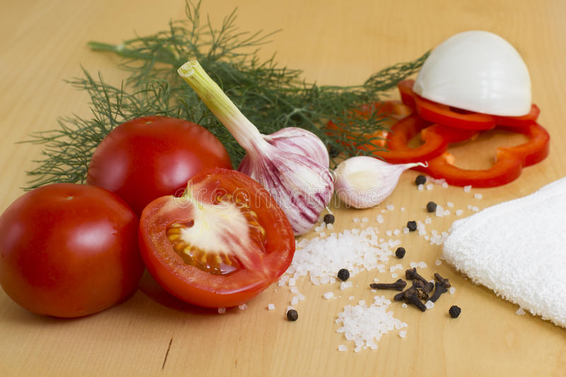 Vegetables for ketchup stock photography