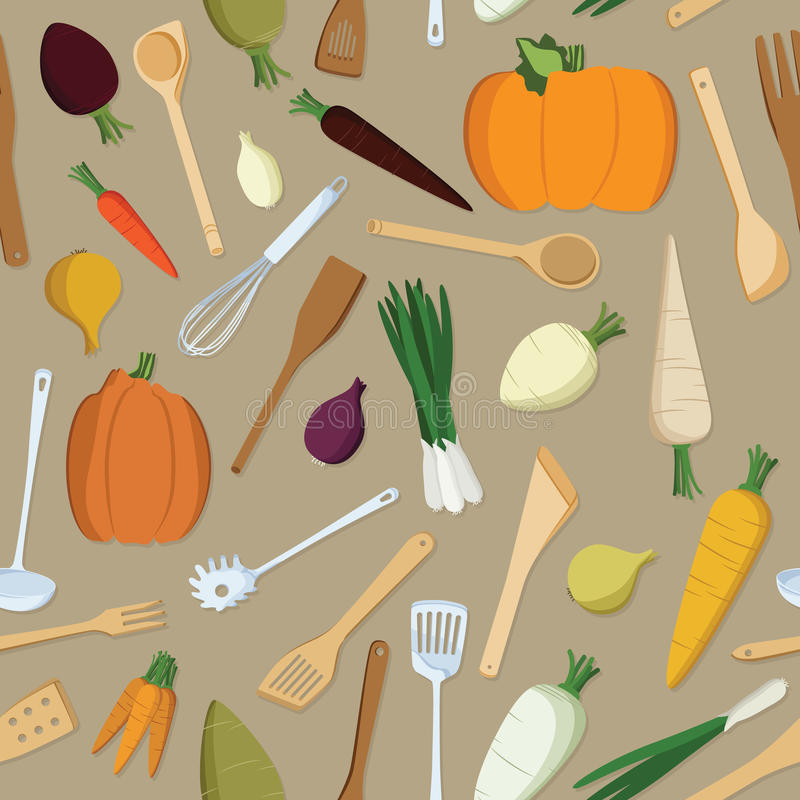 Vegetables and kitchen tools. Seamless background vector illustration