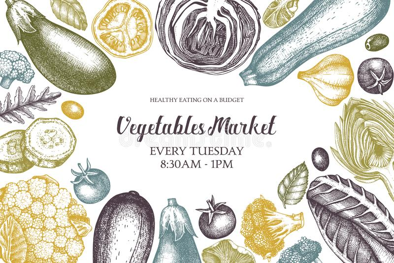 Vector fresh market design template. Vintage frame with hand drawn vegetables and spices sketches. Seasonal farm products illustra vector illustration