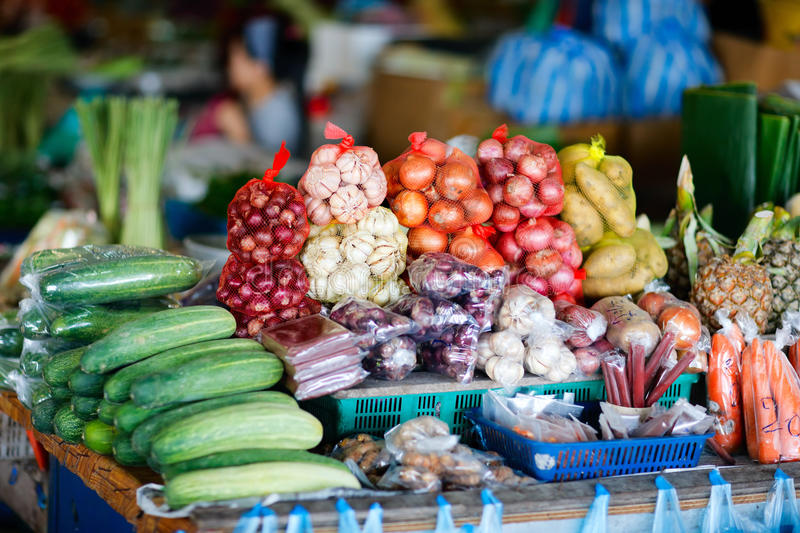 Vegetables on market in Malaysia stock images