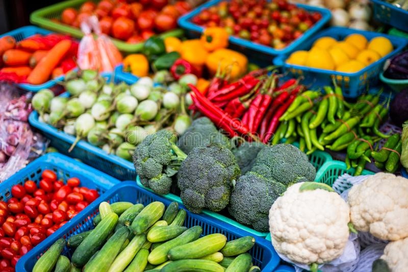 Vegetables in the market stock images