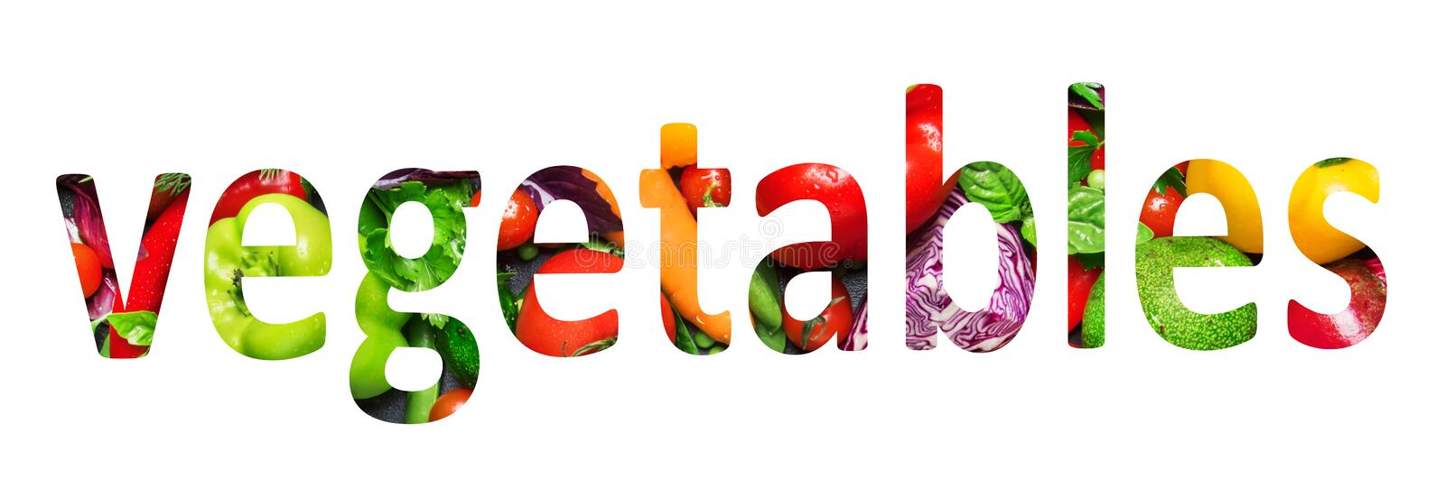 Vegetables, multi-colored text cut out of vegetables photo, the inscription on white background. Vegetables, multi-colored text cut out of vegetables photo, the stock illustration