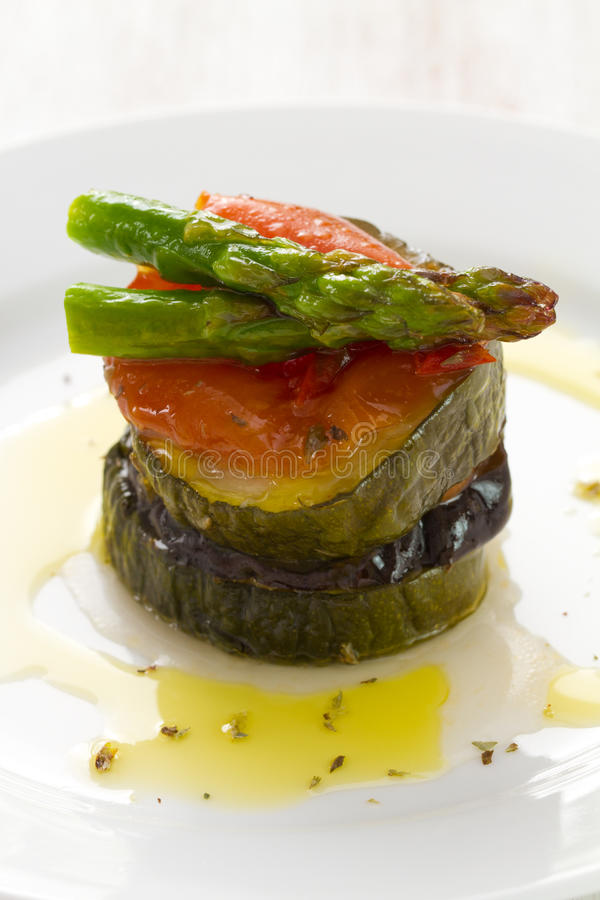 Vegetables with olive oil stock images