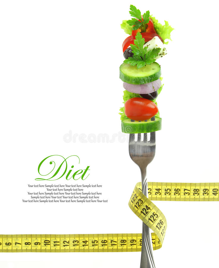 Free Vegetables On Fork With Measuring Tape Stock Image - 29770771