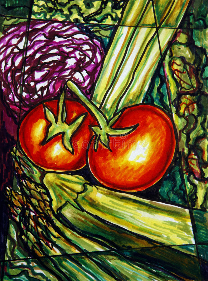 Download Vegetables painting stock illustration. Image of cooking - 16560982