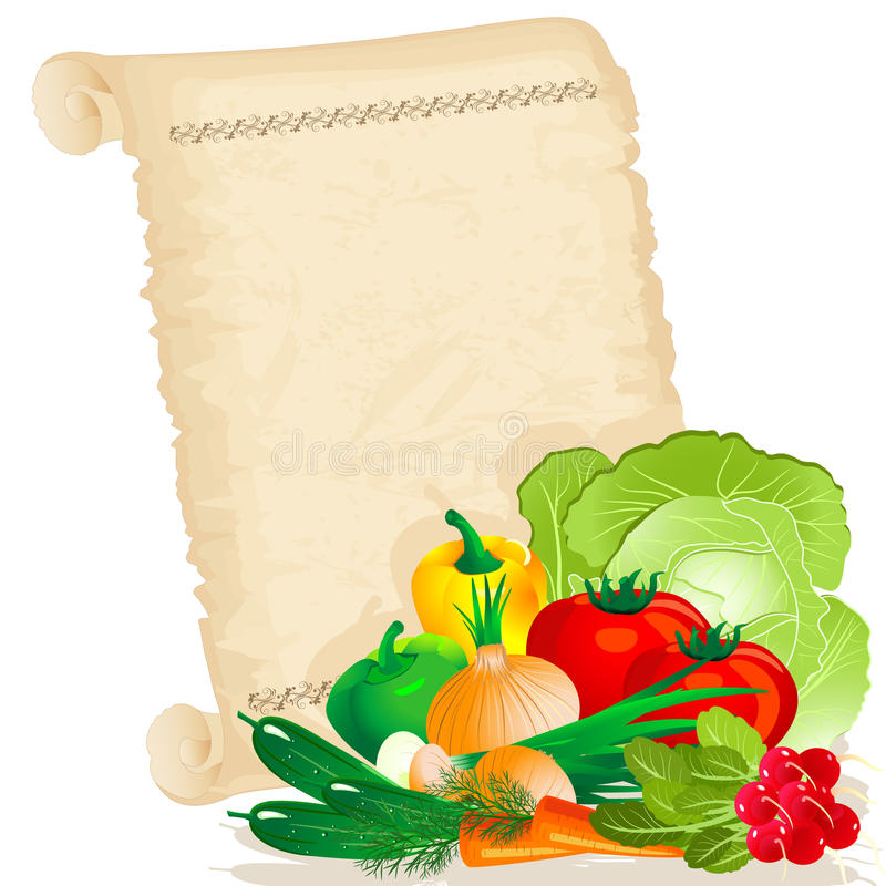 Vegetables on papyrus