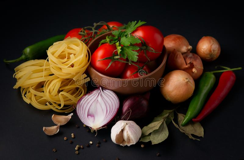 Vegetables and pasta stock photo