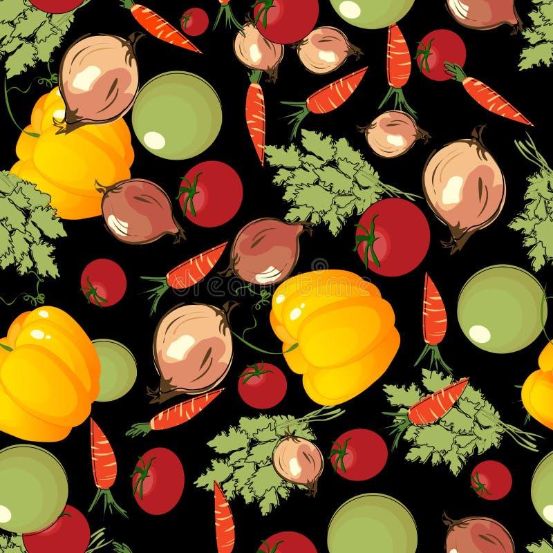 Vegetables Pattern On Black Stock Images