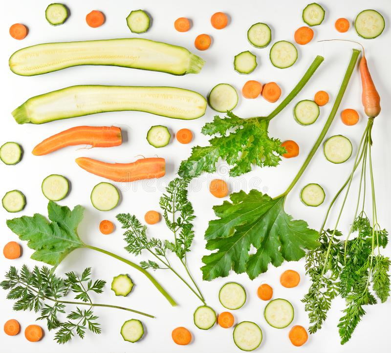 Vegetables pattern of fresh vegetables on white background. Carr royalty free stock images