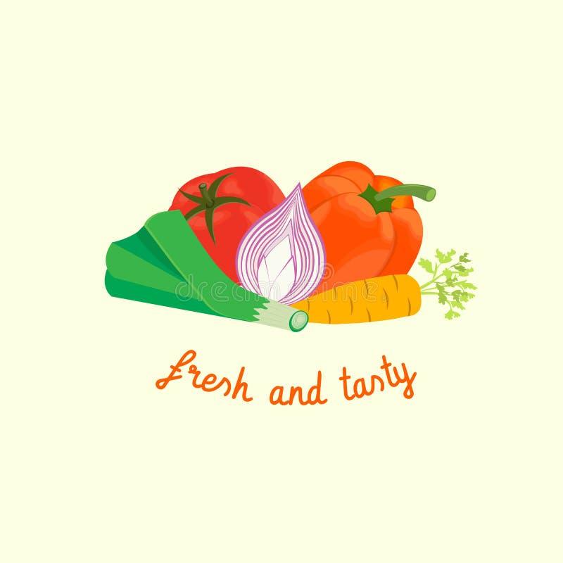 Vegetables. Pepper, tomato, onion, leek: fresh and tasty. Vector illustration EPS 10 vector illustration